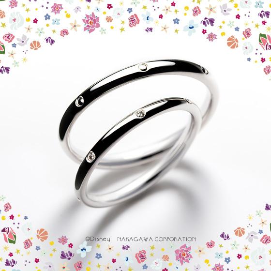 7人の小人たちを7つのダイヤモンドとドット模様で表現した結婚指輪。ふたりの幸せを祝福して見守るように…