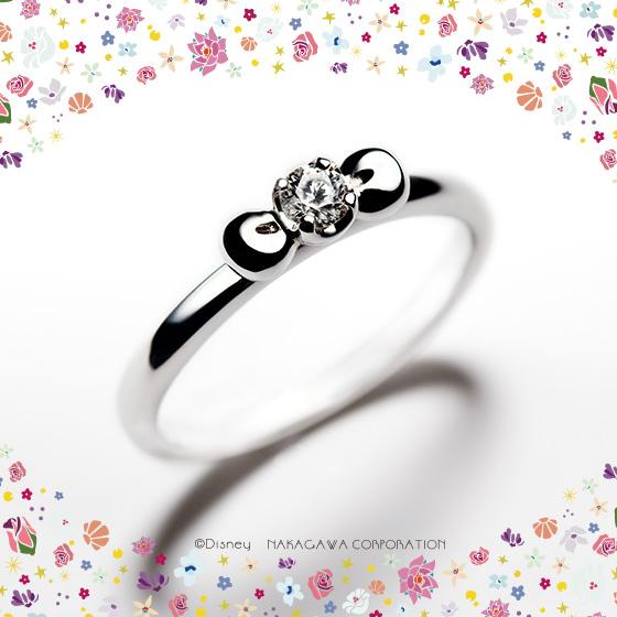 白雪姫のリボンをモチーフにした婚約指輪。いつまでもキュートなプリンセスのように…と願いの込められた婚約指輪です。