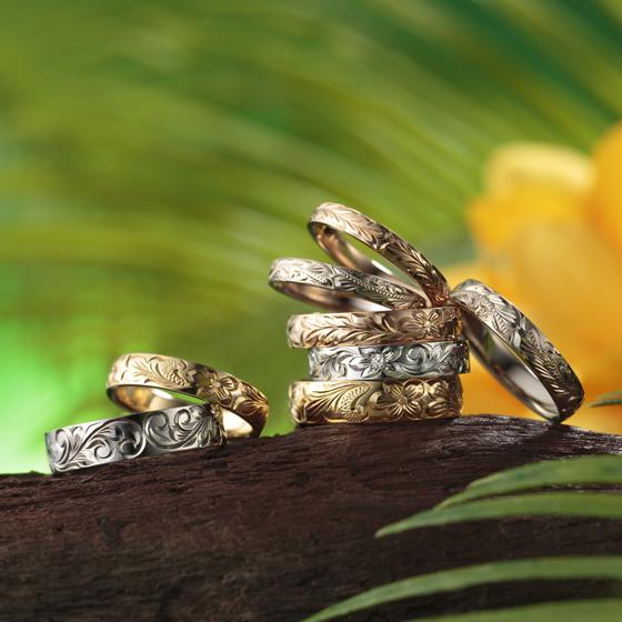 >鍛造製法で抜群の耐久性が人気の、高品質ハワイアンジュエリーを結婚指輪に♪