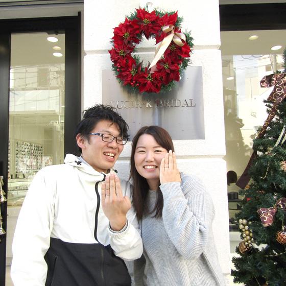 >ご結婚おめでとうございます!オシャレで洗練されたデザインの結婚指輪がとってもお似合いです!