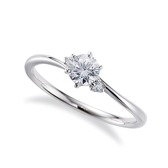 細身のS字カーブラインに2石のメレダイヤモンドがあしらわれたデザインの婚約指輪。