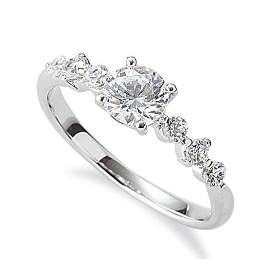 ストレートタイプのメレダイヤモンドが6石入ったゴージャスな婚約指輪