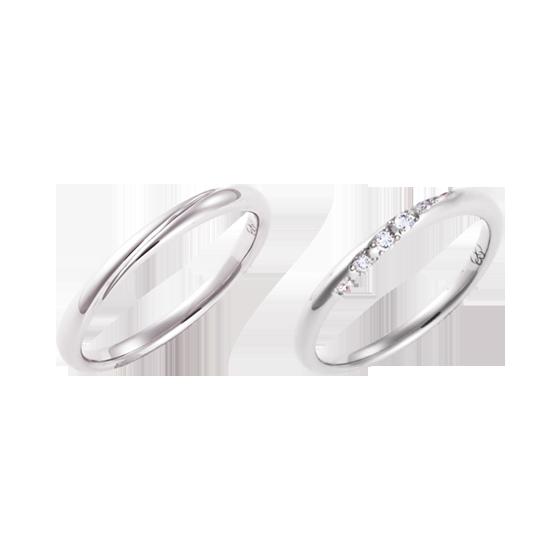 >女性用リングには大粒のダイヤモンドが7石、男性用のリングには内側に1石留められています。