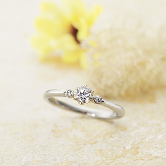 >ストレートタイプの婚約指輪、2石のメレダイヤモンドが寄り添うキュートなデザインです✨