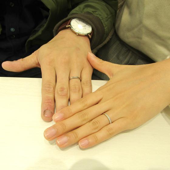 >お指にあうように細身のデザインにされました♡