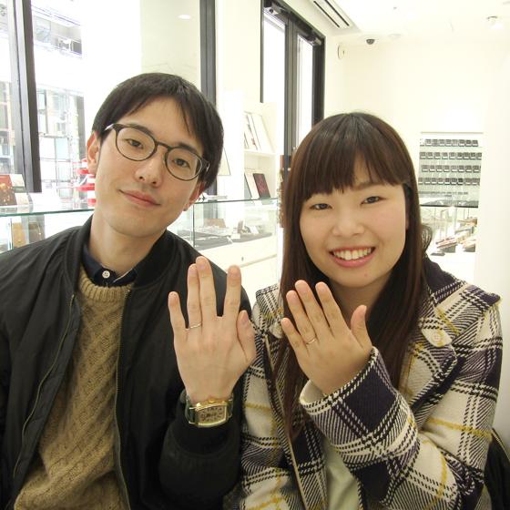 >結婚指輪もシンプルでかわいい!デザインをお選びくださいました。
