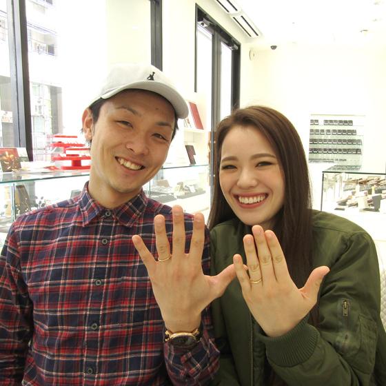 笑顔が素敵な高橋様&真弥様♡こだわりを活かした世界にひとつだけの結婚指輪になりました!