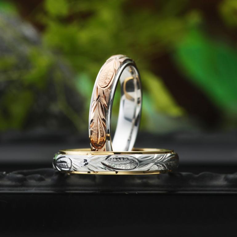 海の波を表現していて「途切れることのない愛」を表している結婚指輪(マリッジリング)