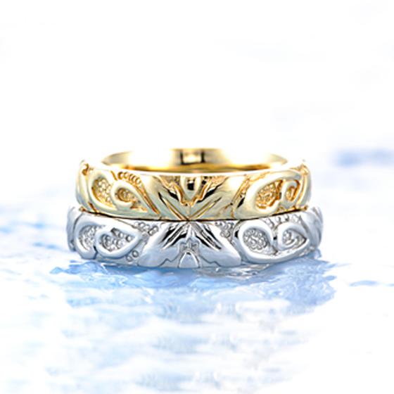 ふたりで極上の甘い生活を:ふたつのリングが寄り添うように重ねデザインされた結婚指輪(マリッジリング)
