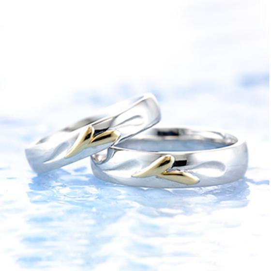 果てしなく続く大海原を駆ける翼をデザインした結婚指輪(マリッジリング)いつまでもふたりで羽ばたいて行けますように