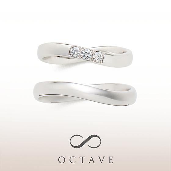 ラインがインフィニティになっていてお二人の永遠の幸せを願う結婚指輪。インフィニティは指輪が回っても気にならないデザインです。