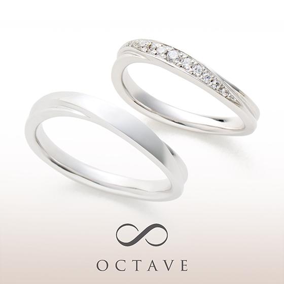 指元と逆のSラインにすることでより立体的なデザインになります。レディースにはダイヤモンドがキラキラと華やか。