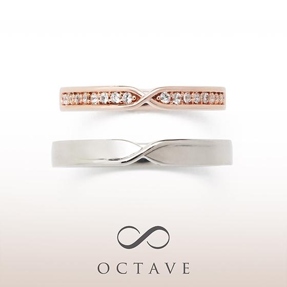 ストレートタイプにひねりをデザインした結婚指輪(マリッジリング)レディースにはハーフエタニティの様にダイヤモンドが敷き詰めてありゴージャス。