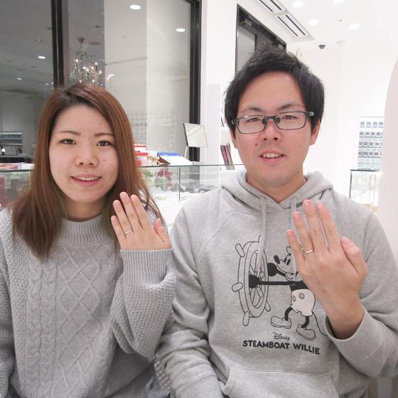 結婚指輪の完成を喜んで下さり記念の一枚!