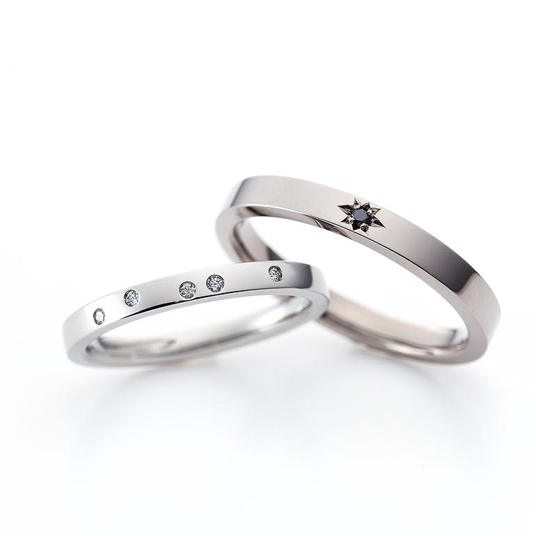 個性的なデザインが印象的な結婚指輪。シャープでかっこいいデザインです。