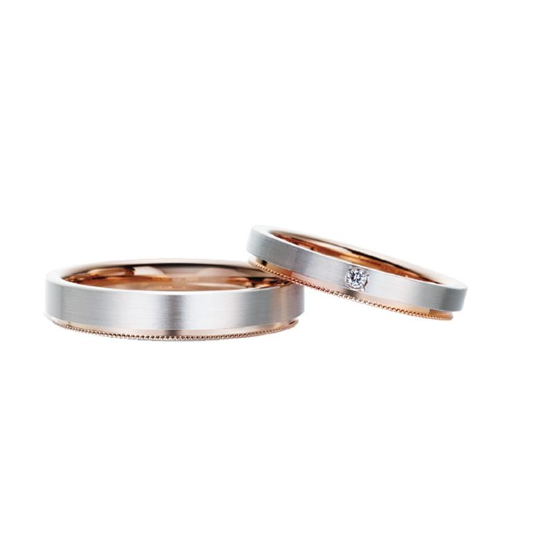 二つのリングを重ねたようなデザイン。ミルグレイン加工もされていて、大人カワイがぎゅっと詰まった指輪です。