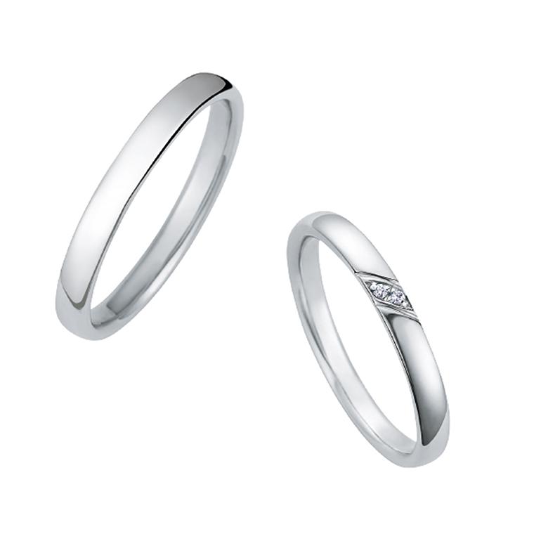 シンプルで男性・女性共に人気なデザインです。斜めに入ったダイヤが特徴です。