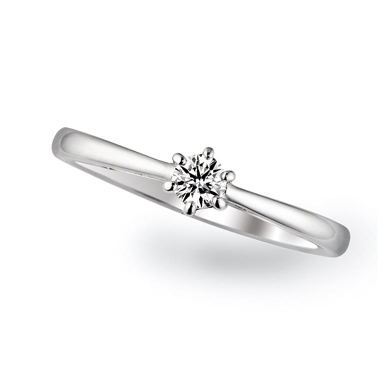 ストレートなタイプで清純派。雫が光る様なデザインな婚約指輪。