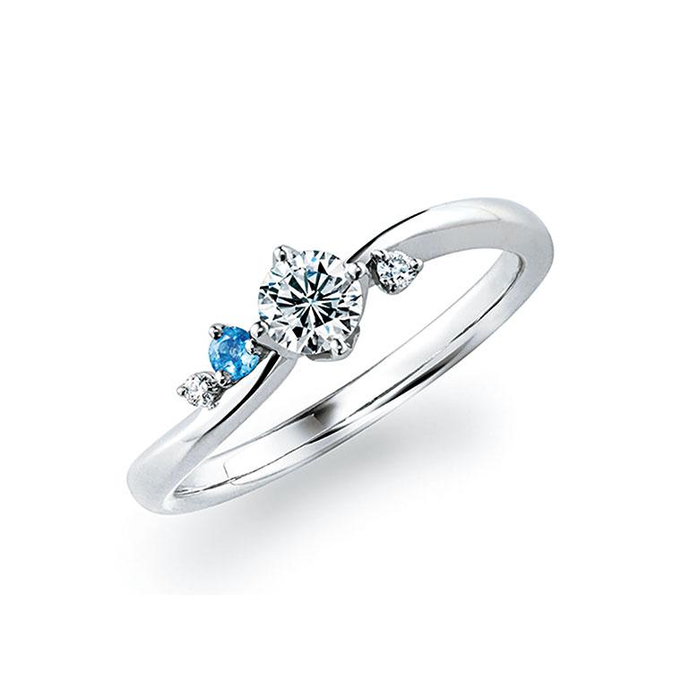 ダイヤモンドとアクアマリンを隠れインフィニティ(∞)ライン上にリズムカルに配して波のきらめきを表現。無限の幸せを願います。