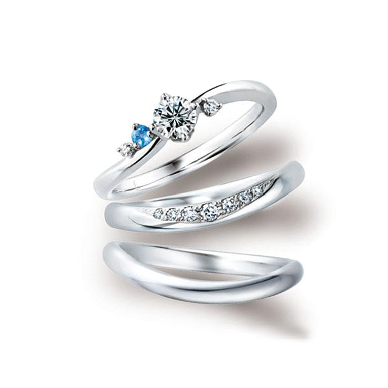 ダイヤモンドとアクアマリンを隠れインフィティ(∞)ライン上に配して波のきらめきを表現しています。