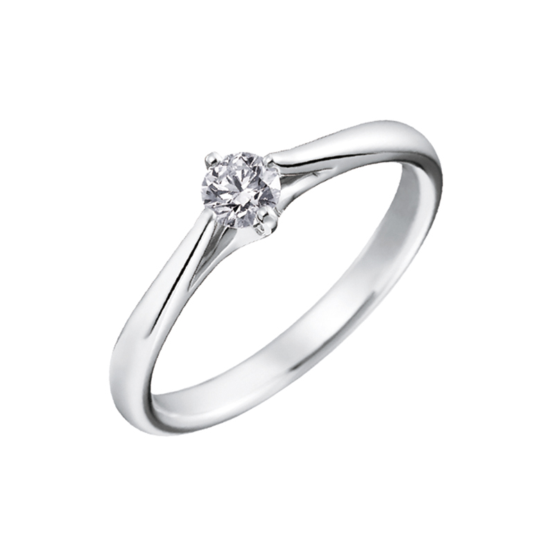 4本爪で中心のダイヤを支え、全体的にシャープですっきりとしたデザイン。