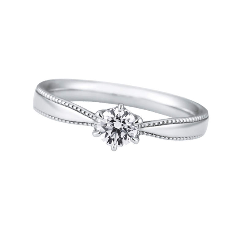 リボンのようなアームにミルグレインが施され、ロマンティックな可愛らしいエンゲージリングです。