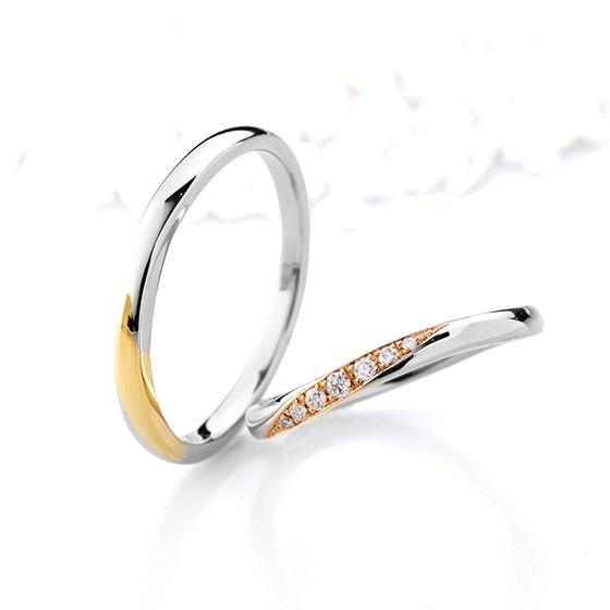 プラチナとゴールドのコンビネーションが新鮮なシリーズ。シンプルですがちょっと個性的な結婚指輪です。