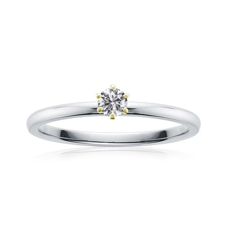 シンプルな6本爪のダイヤモンド婚約指輪。0.1ctと0.2ctの大きさがお選びできます。