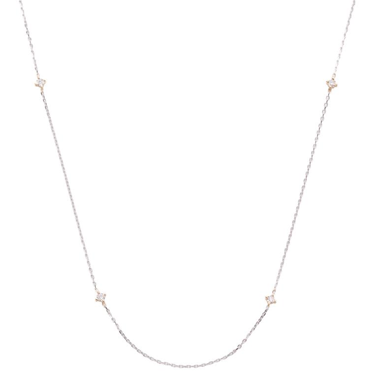 ダイヤモンドパーツがゴールドのお洒落なデザインのロングネックレス。